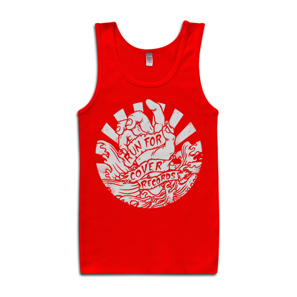 Run For Cover - Hand Tank Top (White on Red)
