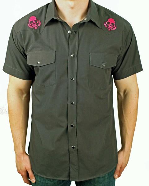 Punk Shocking Pink Skull & Feathers Western Rockabilly Workshirt