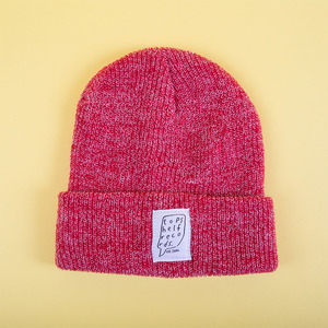 Heather Red Knit Hat with Sewn Label