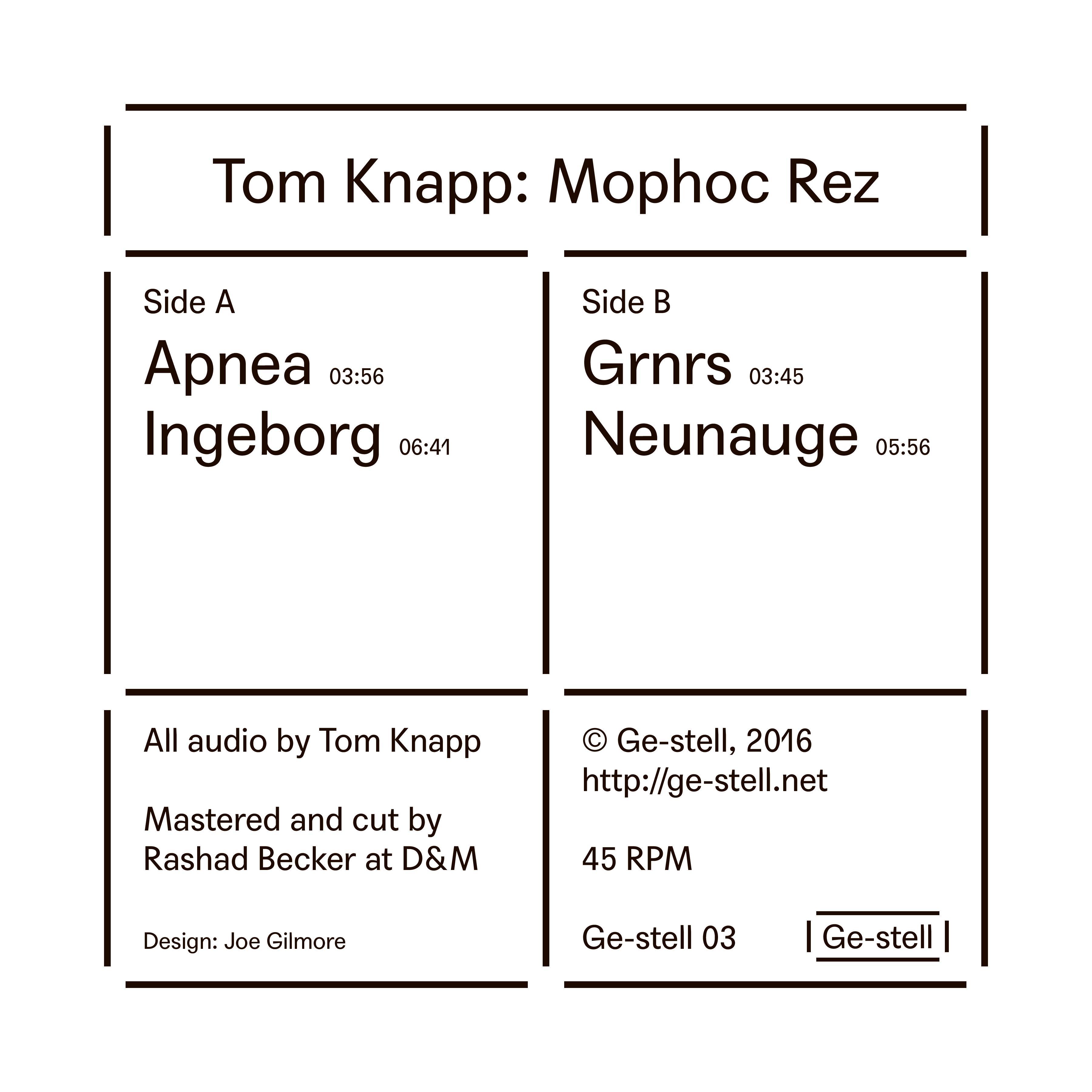 Tom Knapp - Mophoc Rez (EP)