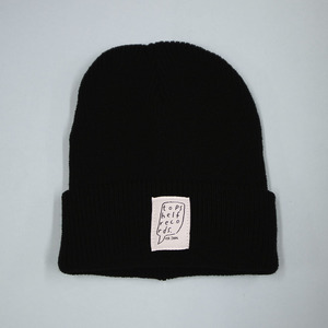 Black Knit Hat with Sewn Label