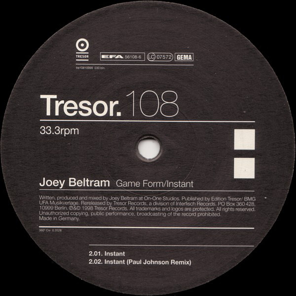 Joey Beltram: Game Form / Instant (Tresor)