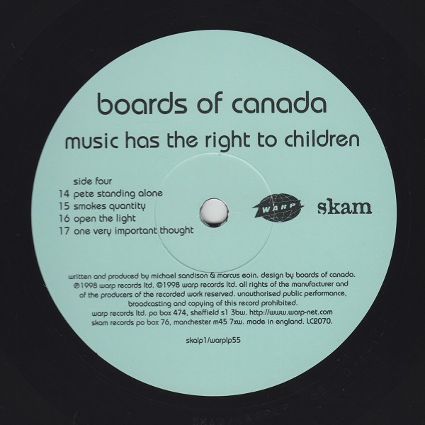 Boards Of Canada: Music Has The Right To Children LP 2 x 12