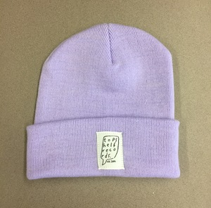 Lavender Knit Hat with Sewn Label