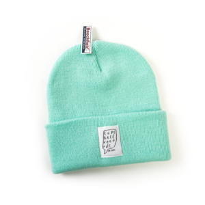 Mint Knit Hat with Sewn Label