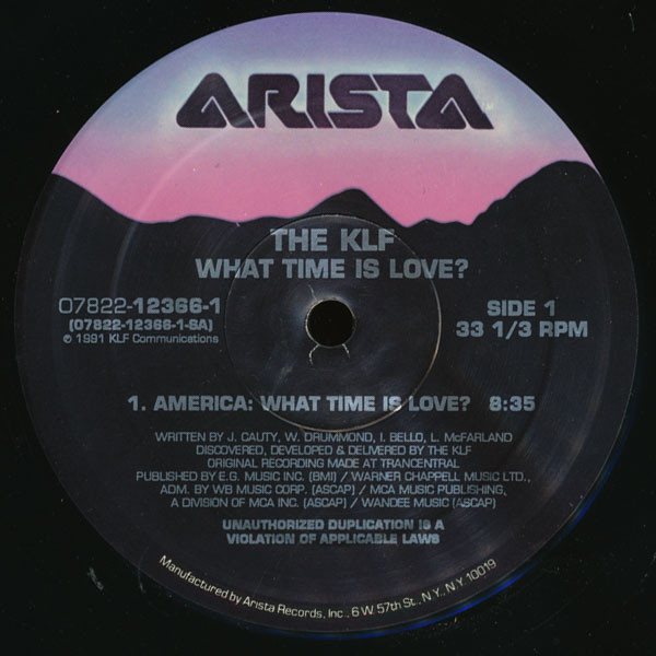 The KLF ‎– America: What Time Is Love? (Arista)