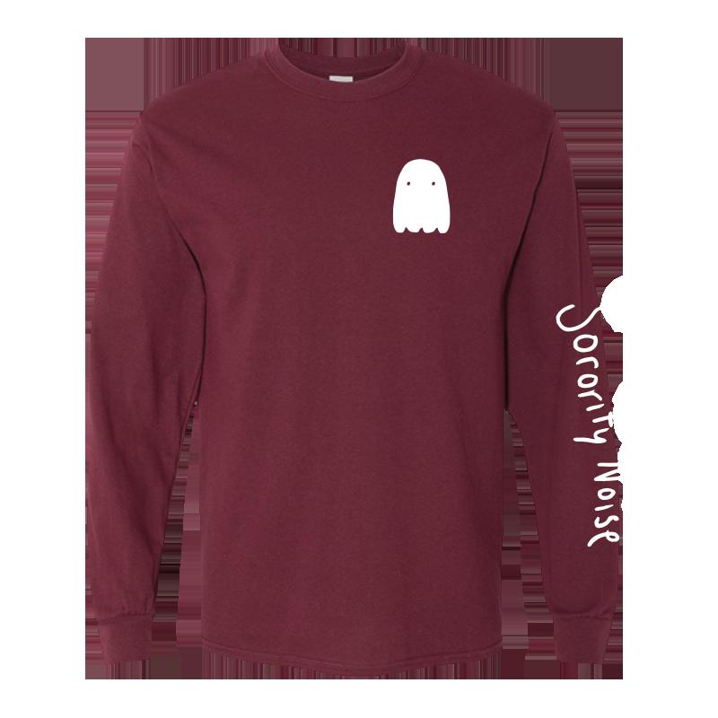 Ghost Long Sleeve Tee - Maroon