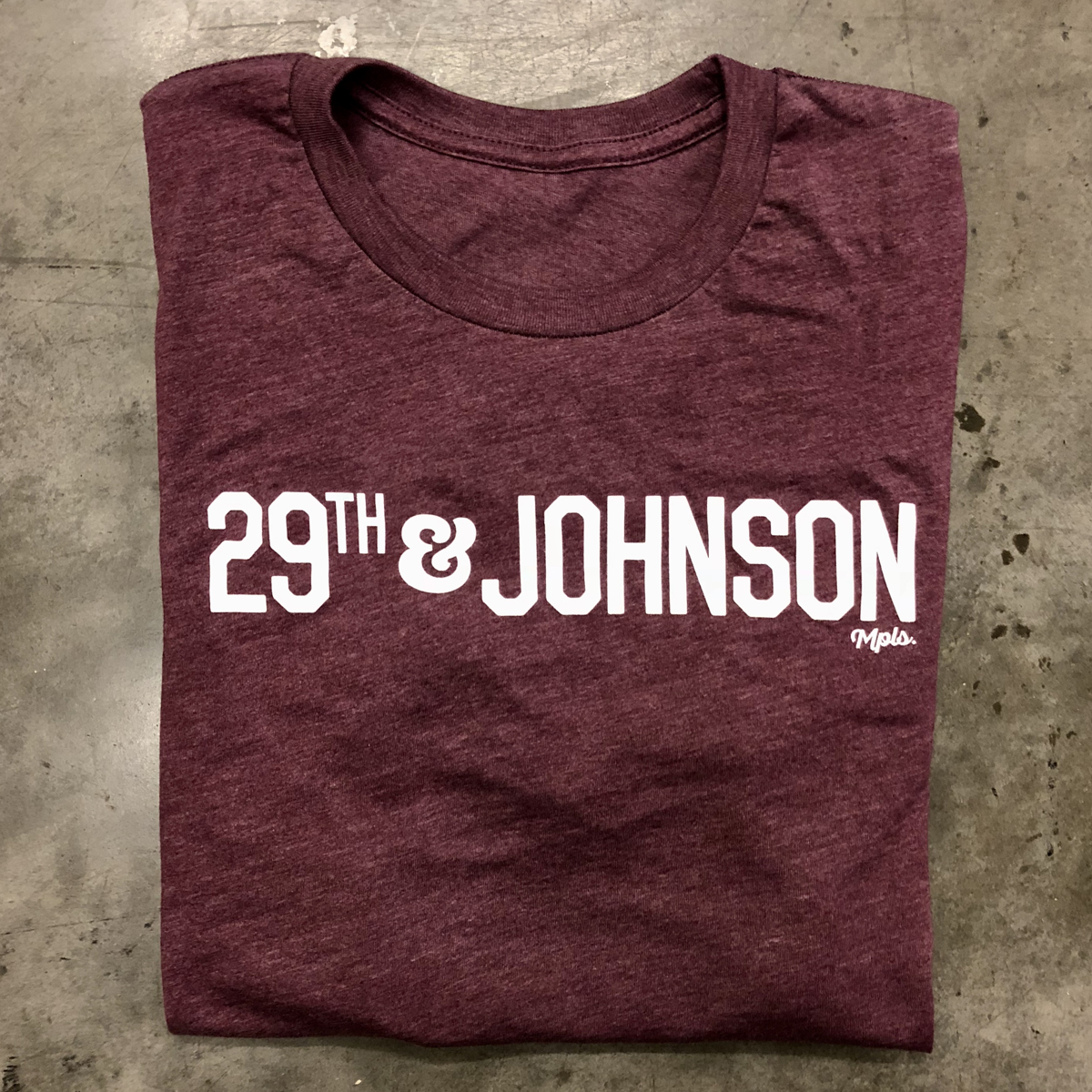 29th & Johnson Tee - Heather Maroon/White