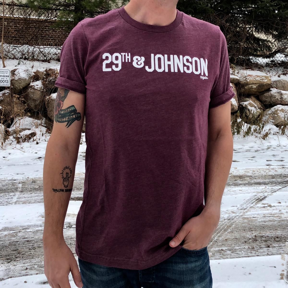29th & Johnson Tee - Heather Maroon/White