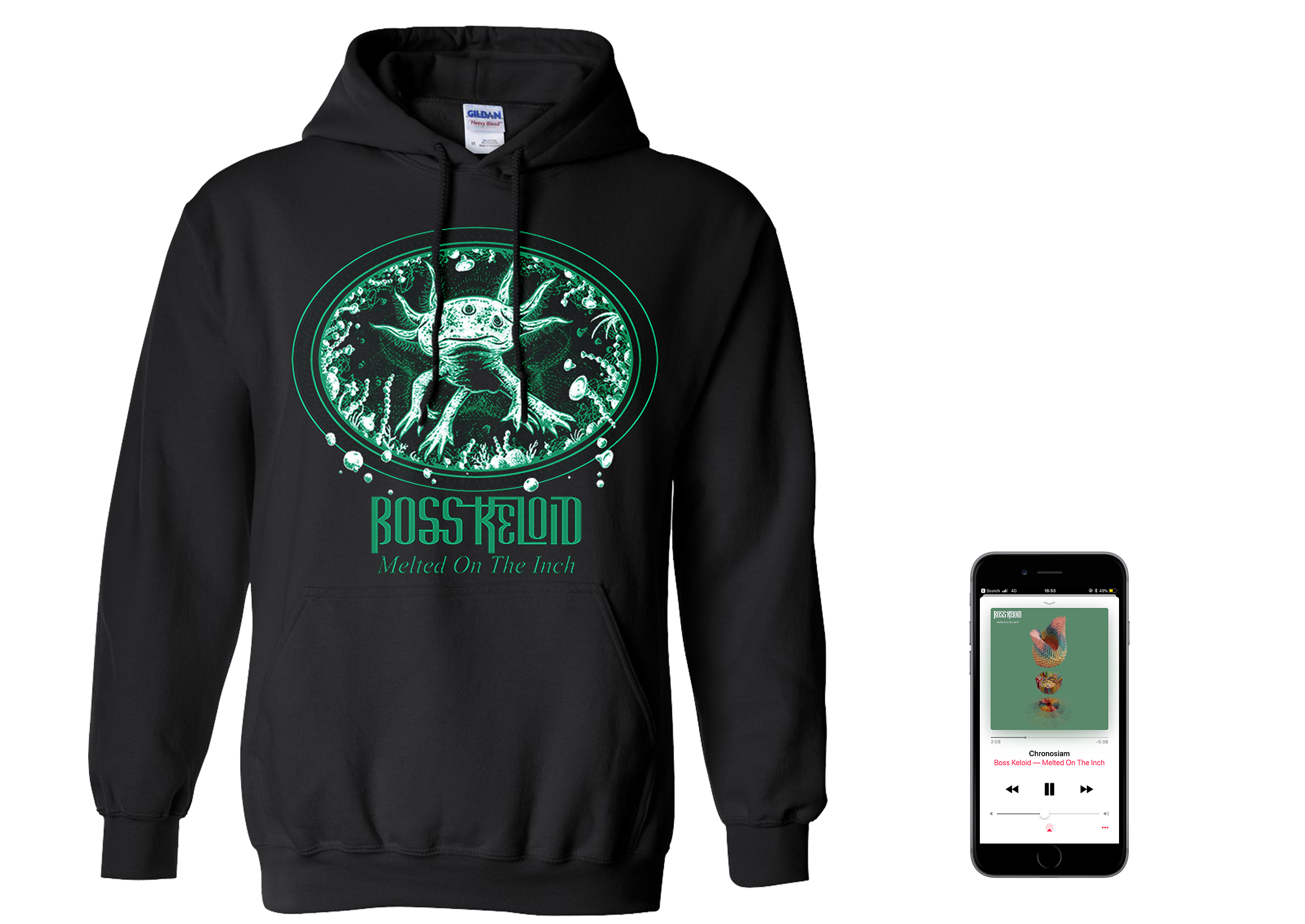 Boss Keloid 'Melted...' Axolotl hoodie + digital download