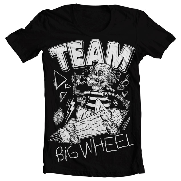 Skate T Shirt Design | Big Wheel Records Team Big Wheel Skate T Shirt Black
