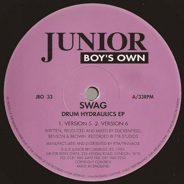 Swag ‎– Drum Hydraulics EP (Junior Boy's Own)