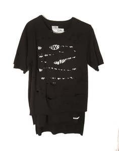 Layered Black Tee w/ Hands (O/S)