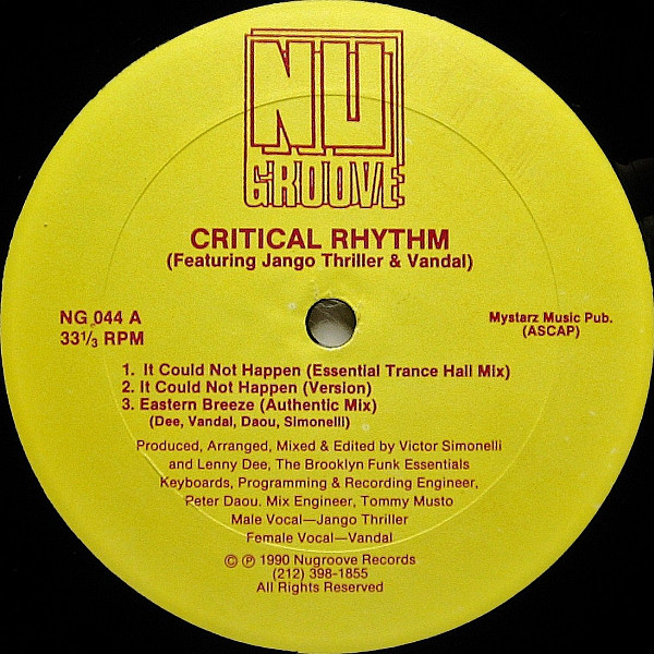 Critical Rhythm – It Could Not Happen (Nu Groove Records)