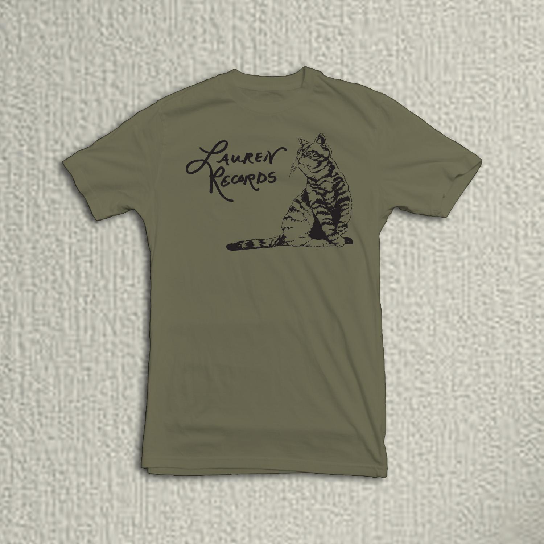 Lauren Records Cat Logo on Olive Next Level Shirt