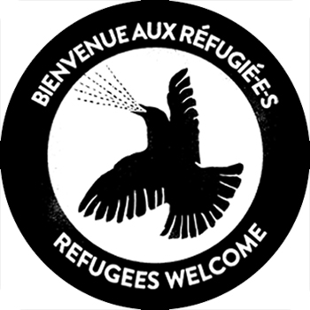 Guerilla Poubelle - badge Refugees Welcome