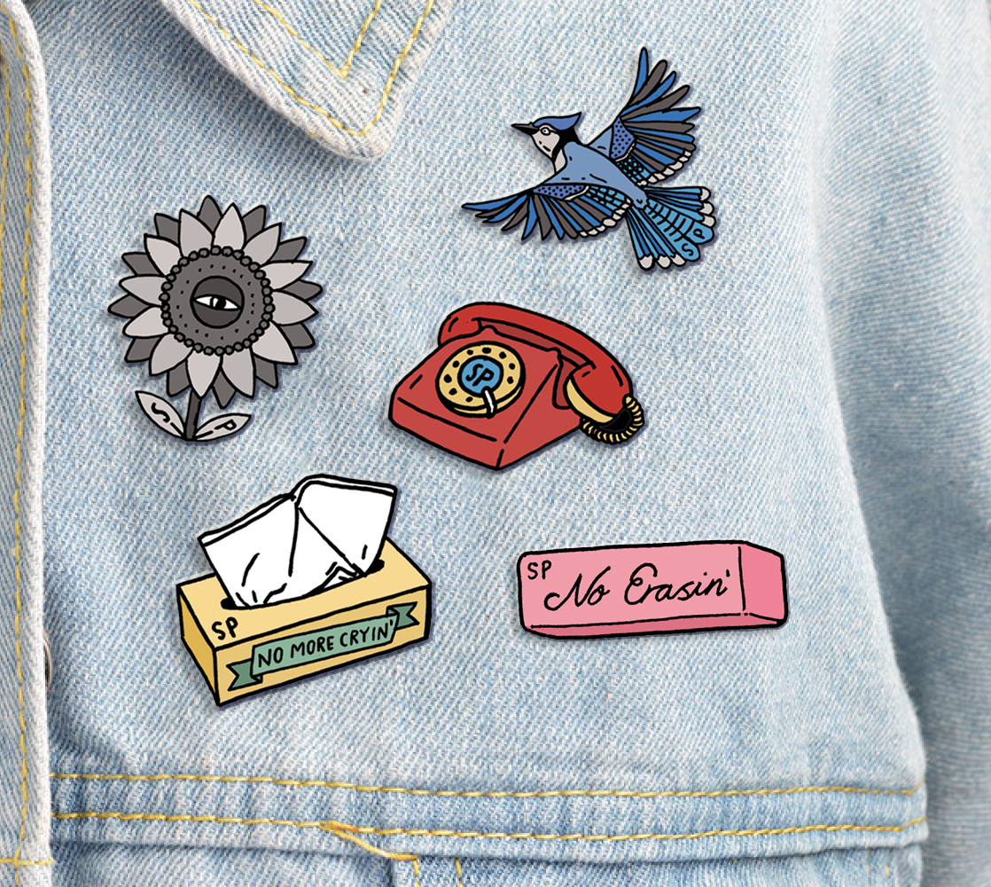 Five Enamel Pin Set + Custom Backing Card