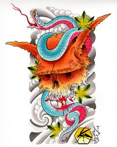 Oni Skull & Snake Print