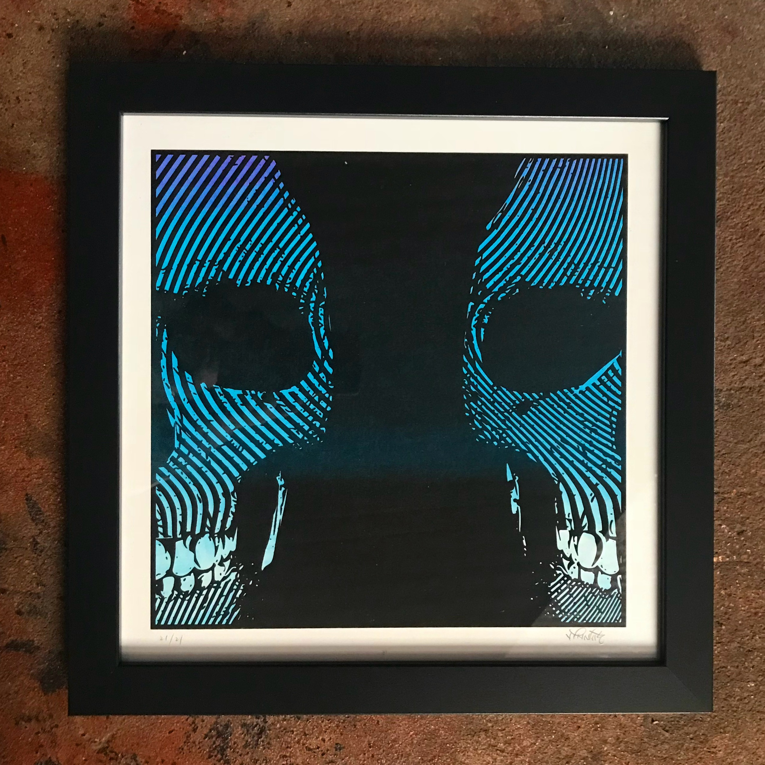 "14 x 14 Limited Hand Screened ""Watching Over You"" Skull Print"
