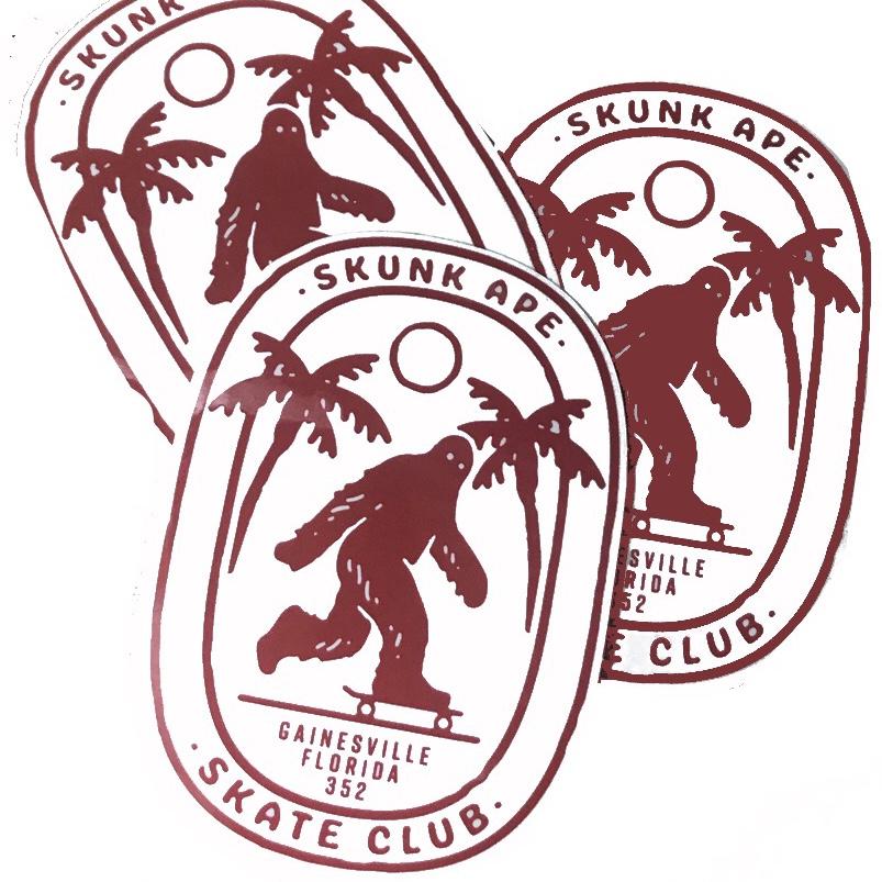 Skunk Ape Skate Club Sticker 3 Pack