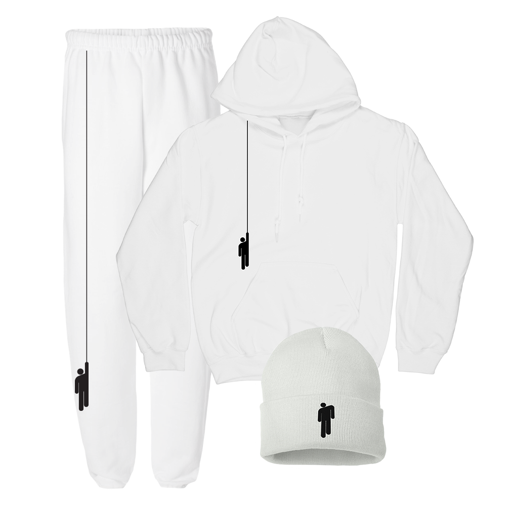 White Hoodie + Sweatpants + Beanie