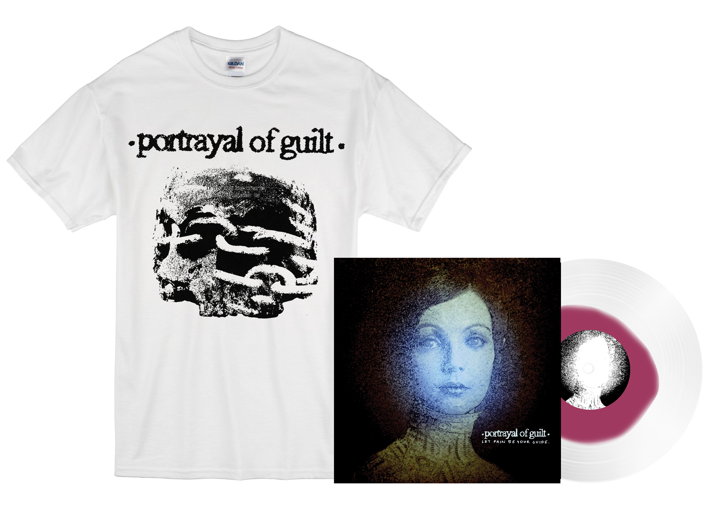 Portrayal of Guilt - 'Let Pain Be Your Guide' skull shirt + LP