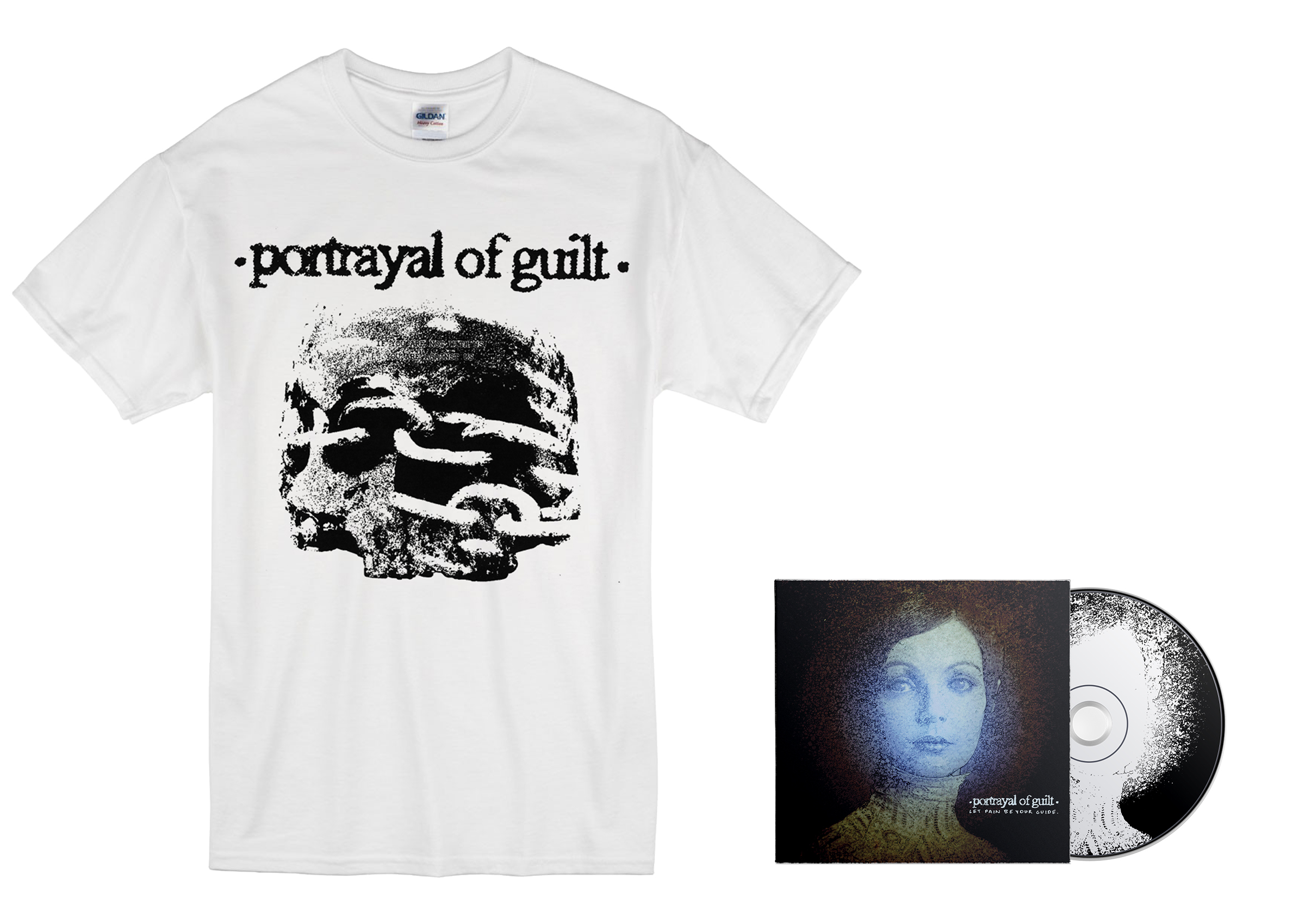 Portrayal of Guilt - 'Let Pain Be Your Guide' skull shirt + CD