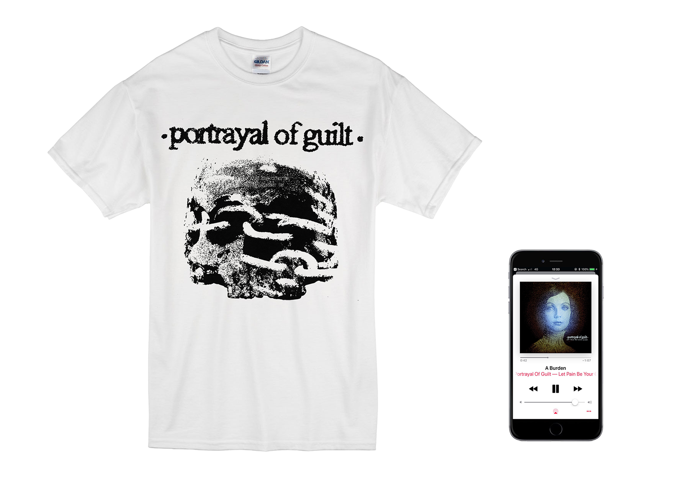 Portrayal of Guilt - 'Let Pain Be Your Guide' skull shirt + Digital Download