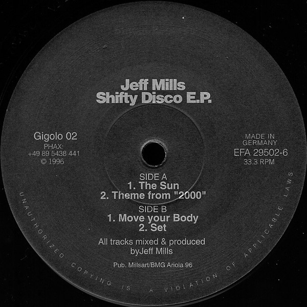 Jeff Mills ‎– Shifty Disco E.P. (Gigolos)