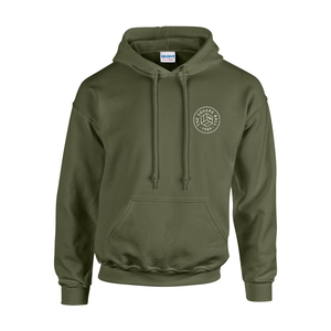 Military Green Chest Print Hoodies