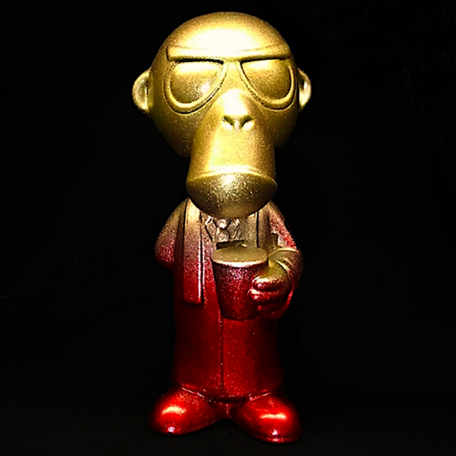 Custom Painted Cult Monkey - Red to Gold Variant
