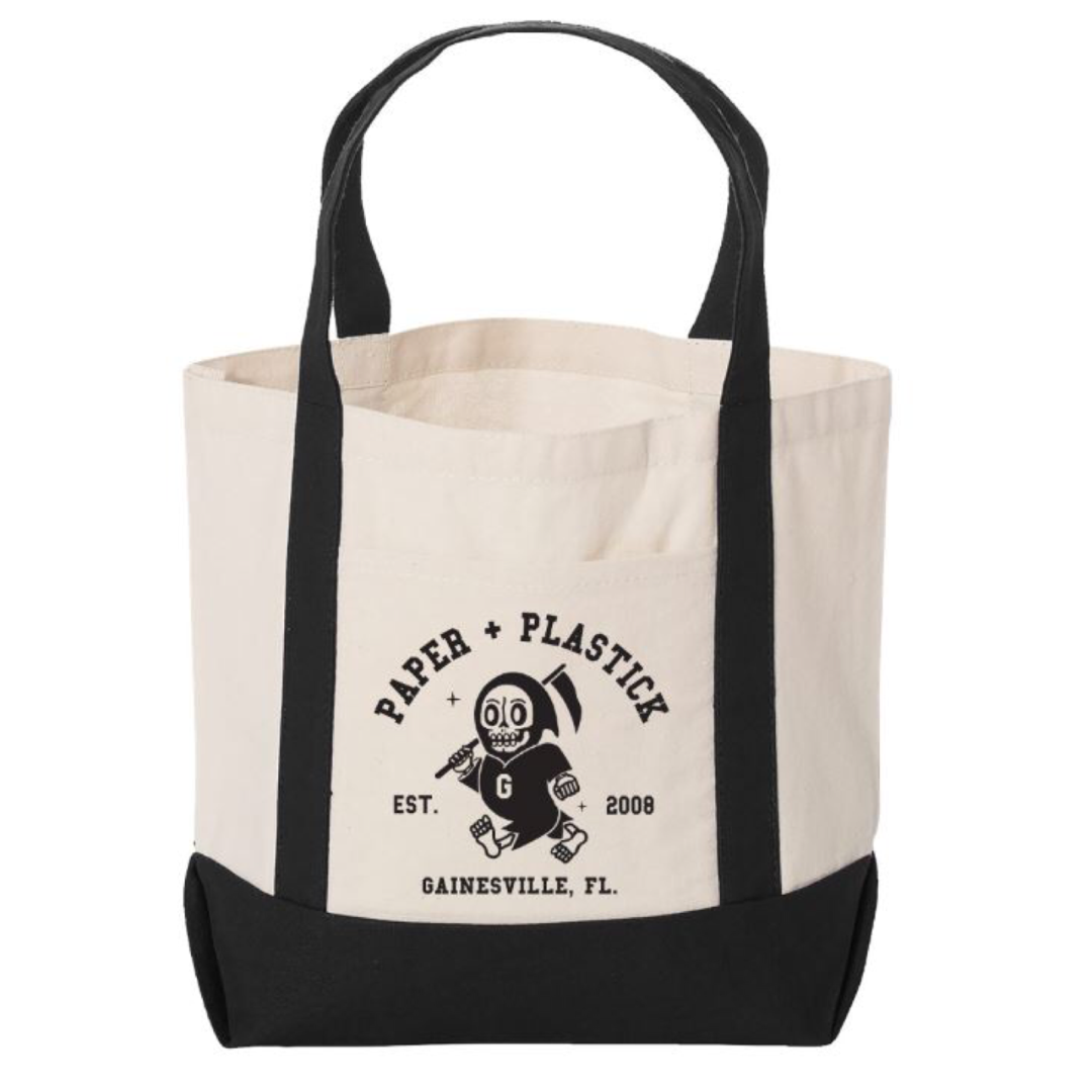 Black and Oatmeal P+P Tote Bag