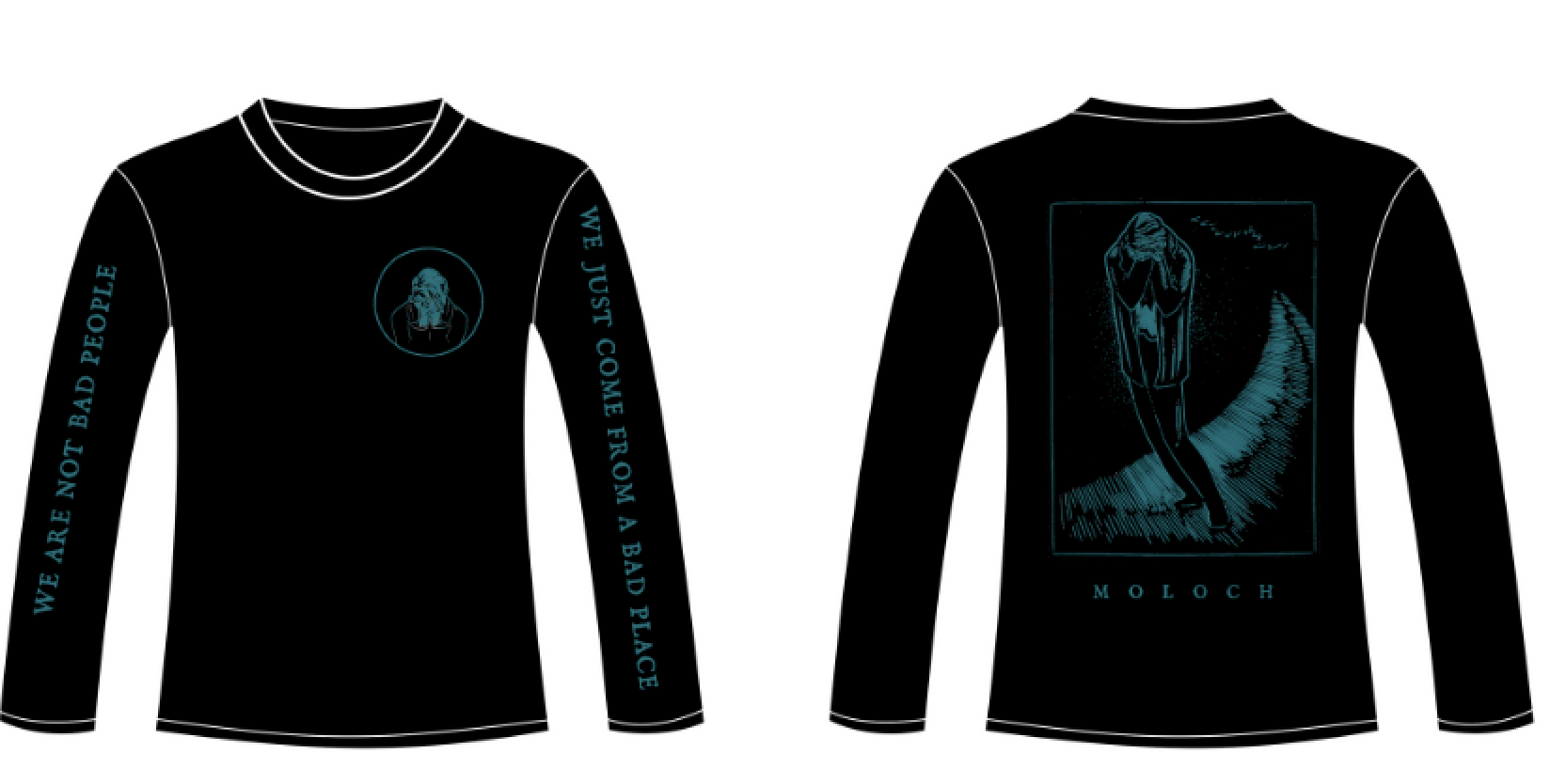MOLOCH - A BAD PLACE LONG SLEEVE SHIRT - TEAL INK