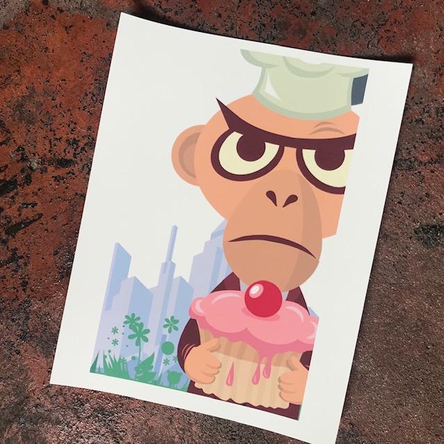 Monkey Cupcake Print