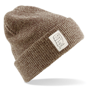 Topshelf Records - Heather Oatmeal Knit Hat with Sewn Label