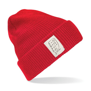 Topshelf Records - Classic Red Knit Hat with Sewn Label