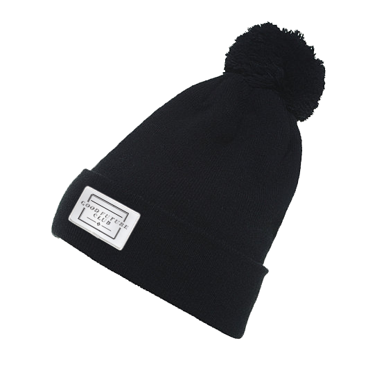Beanie - Black w/ white patch
