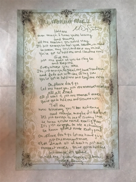 Signed Handwritten Lyrics from