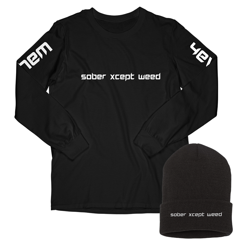 sober xcept weed long sleeve + sober beanie