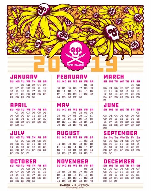 2019 Screen Printed Calendar