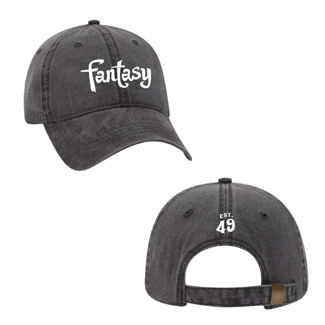 Fantasy Records embroidered pigment dyed black cap