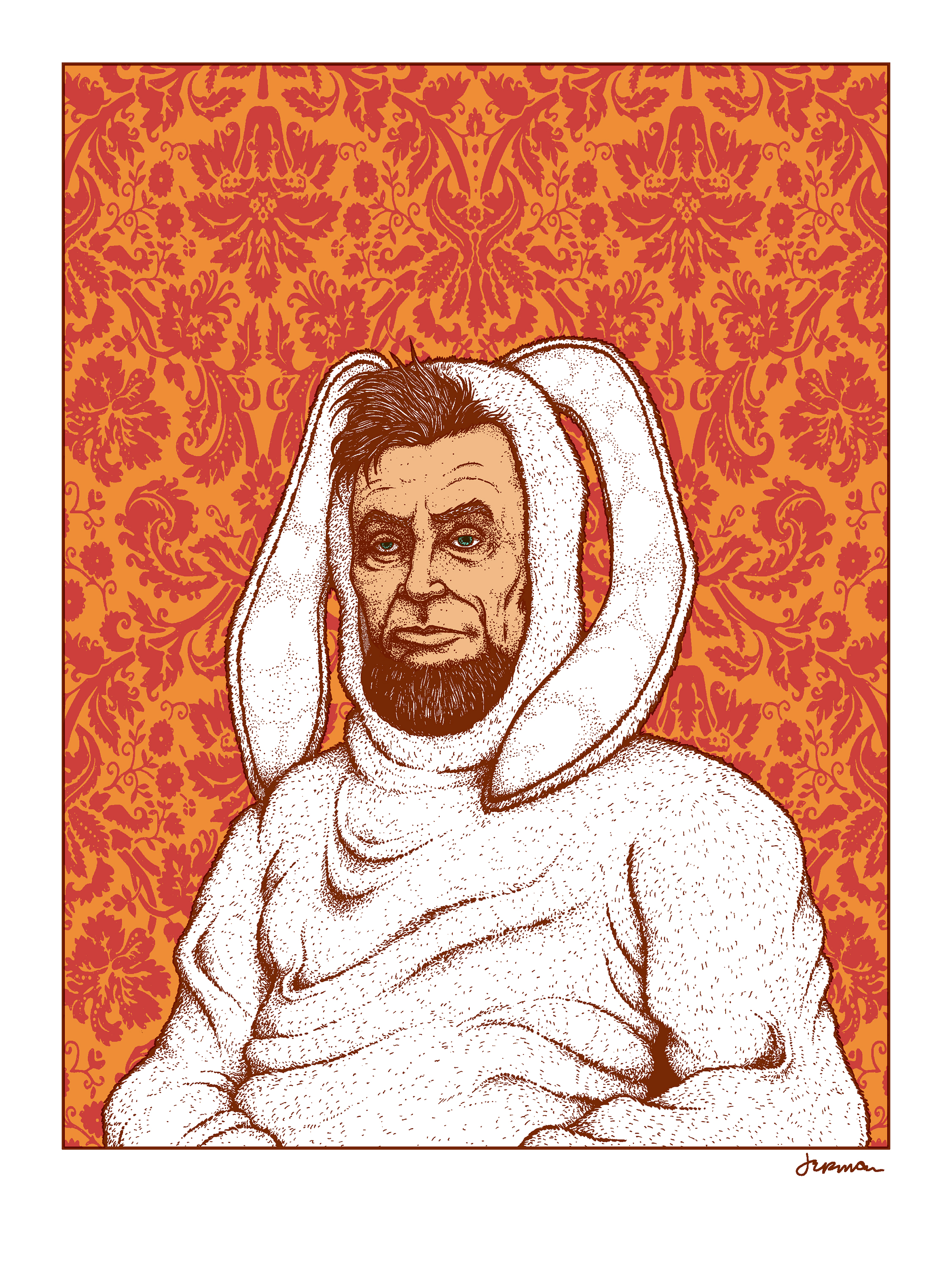 NEW - 'ABE' Mini Art Print (OPAL & LAVA FOIL Editions)