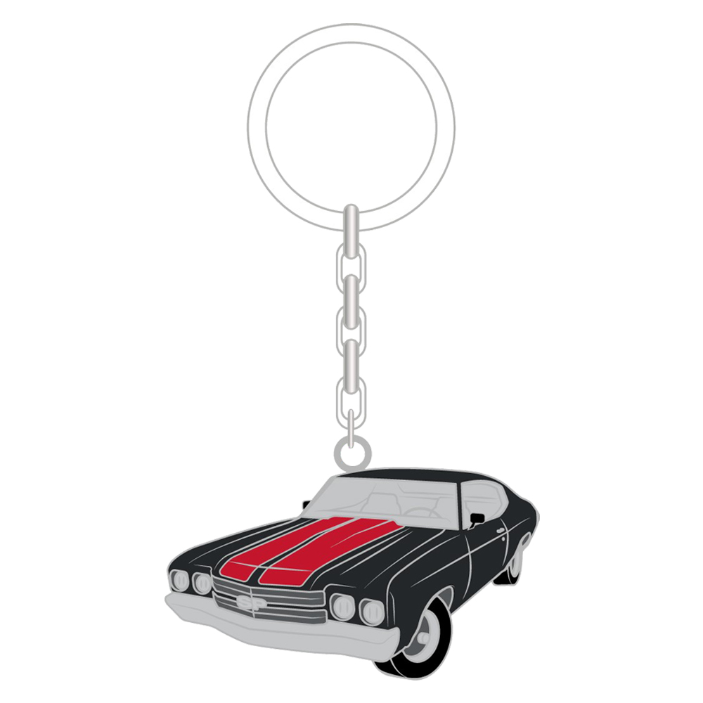 "Steve Perry 1970 Chevelle Edition Metal Enamel Keychain (2""x1"") + 15-track Album Bundle (optional)"