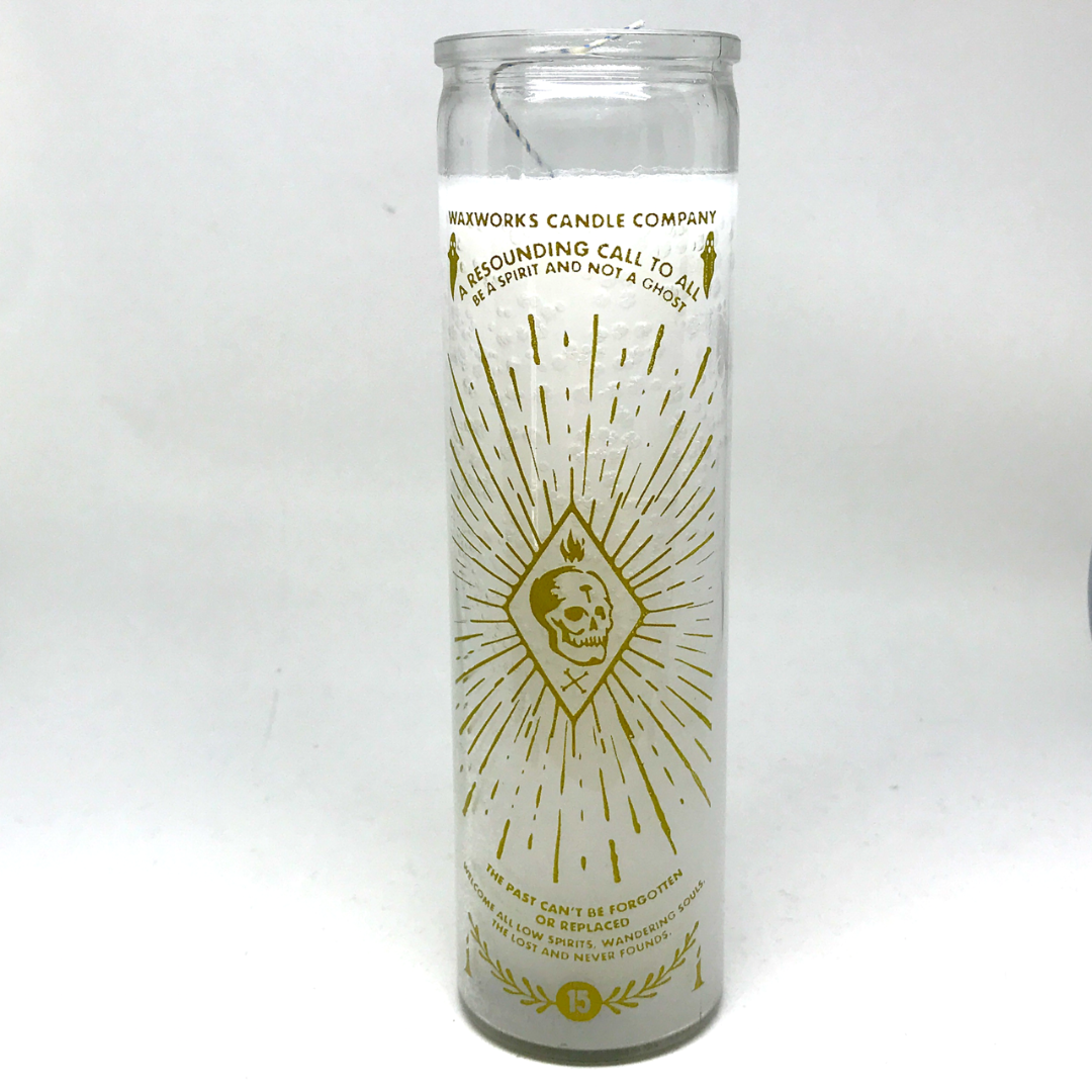 White Glass Spirit Candle