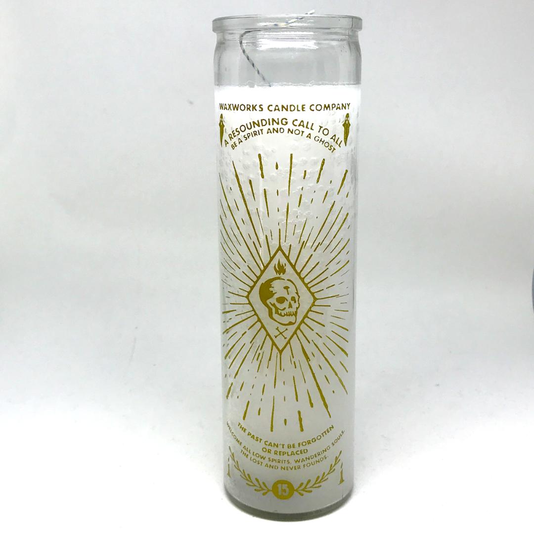 White Glass Spirit Candle