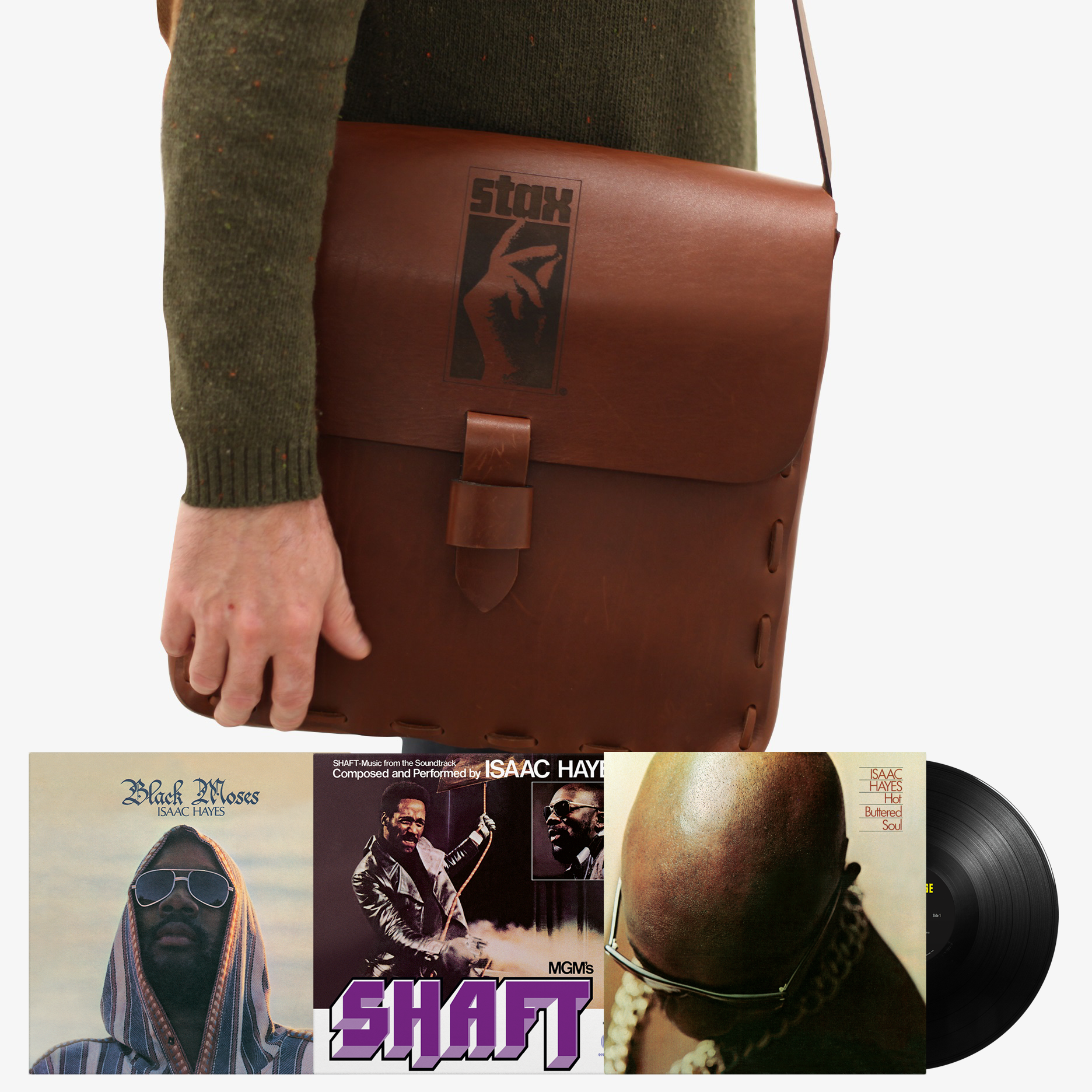 Stax Handcrafted Leather DJ Bag + Isaac Hayes' 'Trinity Of Soul' LP Bundle