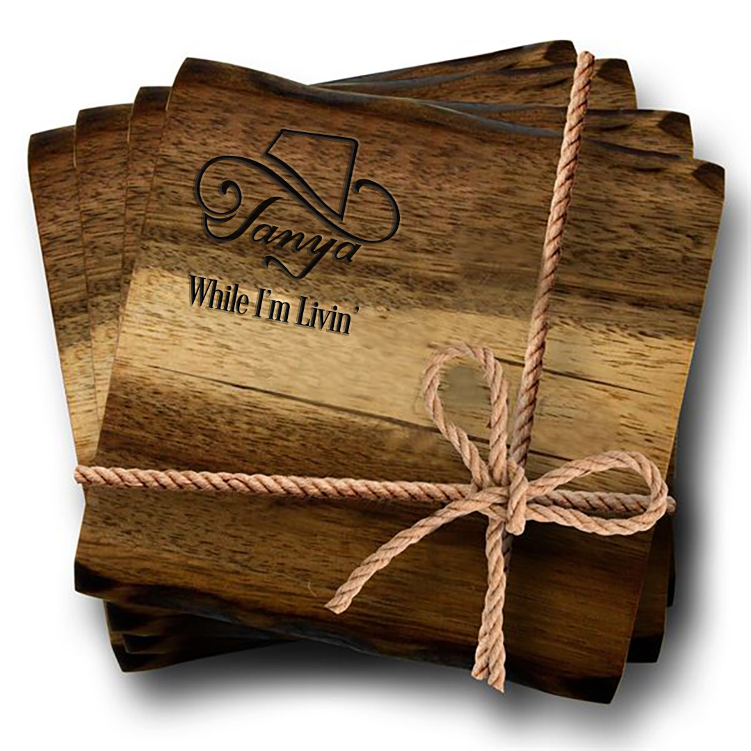 4 Piece Acacia Wood Coaster Set (laser engraved) + Vinyl/CD/Album Download (optional)