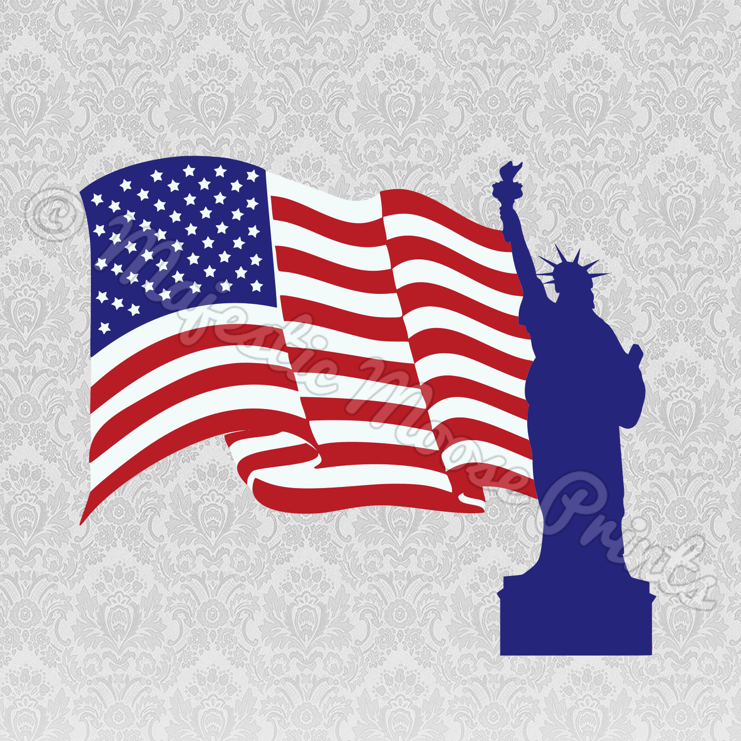 Statue of Liberty Flag SVG