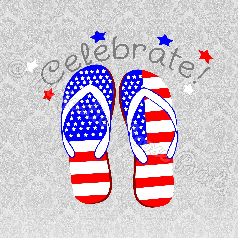 Celebrate Independence Day Flip Flops SVG