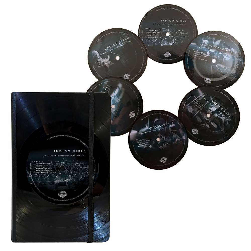 "Vinyl Notebook (6""x8"") + Vinyl Coasters (set of six) + Live 3xLP/CD/Download (optional)"